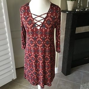 Anthropologie Everly Dress Burgundy Floral Stretch